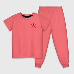Пижама хлопковая детская NARUTO HOKAGE НА СПИНЕ цвета коралловый — фото 1