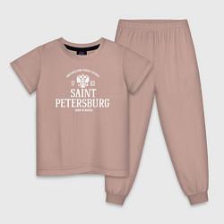 Пижама хлопковая детская Санкт-ПетербургBorn in Russia цвета пыльно-розовый — фото 1