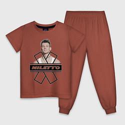 Пижама хлопковая детская NILETTO цвета кирпичный — фото 1