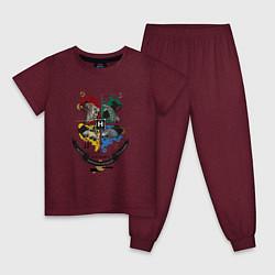 Пижама хлопковая детская Гарри Поттер цвета меланж-бордовый — фото 1