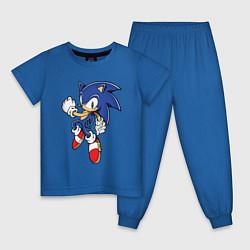 Пижама хлопковая детская Соник цвета синий — фото 1