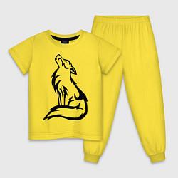 Пижама хлопковая детская Вой волка тату цвета желтый — фото 1