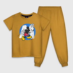 Пижама хлопковая детская Микки Маус цвета горчичный — фото 1