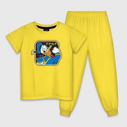 Пижама хлопковая детская Дональд Дак цвета желтый — фото 1