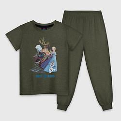 Пижама хлопковая детская Frozen: Best Band цвета меланж-хаки — фото 1