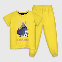 Пижама хлопковая детская Анна и Олаф цвета желтый — фото 1