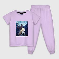 Пижама хлопковая детская Ангел кровопролития цвета лаванда — фото 1