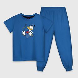 Пижама хлопковая детская Счастье цвета синий — фото 1