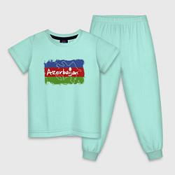 Пижама хлопковая детская Азербайджан цвета мятный — фото 1