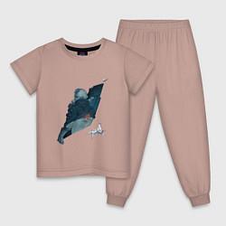 Пижама хлопковая детская Бегущий по лезвию цвета пыльно-розовый — фото 1