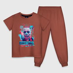 Пижама хлопковая детская Густаво Фринг цвета кирпичный — фото 1