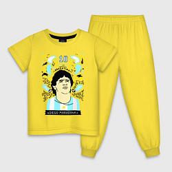 Пижама хлопковая детская DIEGO MARADONA цвета желтый — фото 1