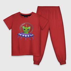 Пижама хлопковая детская Инопланетный кот цвета красный — фото 1