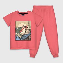 Пижама хлопковая детская Cat Kong versus Godzilla Kaiju цвета коралловый — фото 1