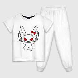 Пижама хлопковая детская Зайка с ножами цвета белый — фото 1