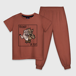 Пижама хлопковая детская Friend of foe? цвета кирпичный — фото 1