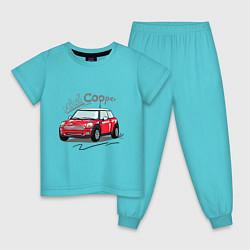 Пижама хлопковая детская Mini Cooper цвета бирюзовый — фото 1