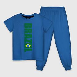 Пижама хлопковая детская Brazil Football цвета синий — фото 1