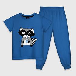 Пижама хлопковая детская Енот-мальчик цвета синий — фото 1