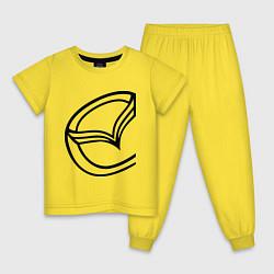 Пижама хлопковая детская Мазда значок цвета желтый — фото 1