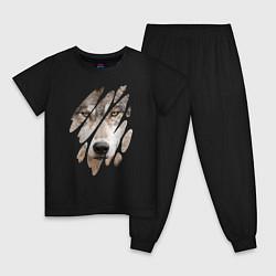 Пижама хлопковая детская Волк - моё второе Я цвета черный — фото 1