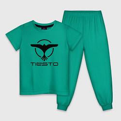 Пижама хлопковая детская Tiesto цвета зеленый — фото 1