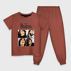 Пижама хлопковая детская The Beatles Stories цвета кирпичный — фото 1