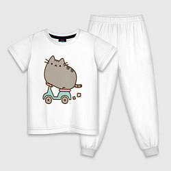 Пижама хлопковая детская Кот Пушин цвета белый — фото 1