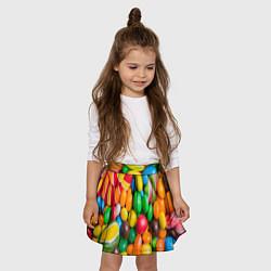 Юбка-солнце для девочки Сладкие конфетки цвета 3D — фото 2