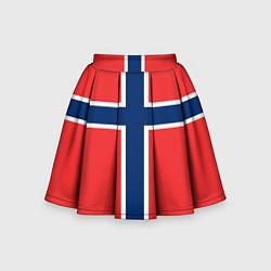 Юбка-солнце для девочки Флаг Норвегии цвета 3D-принт — фото 1