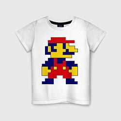 Футболка хлопковая детская Pixel Mario цвета белый — фото 1