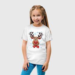 Футболка хлопковая детская Рождественский олень цвета белый — фото 2