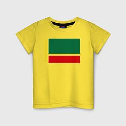 Футболка хлопковая детская Чечня: флаг цвета желтый — фото 1