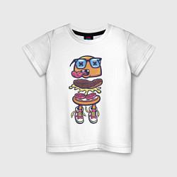 Футболка хлопковая детская Гамбургер цвета белый — фото 1