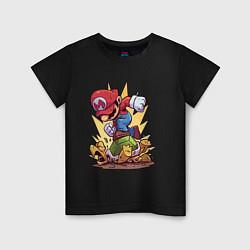 Футболка хлопковая детская Mario Rage цвета черный — фото 1