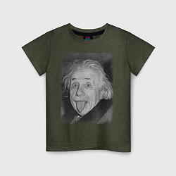 Футболка хлопковая детская Энштейн дурачится цвета меланж-хаки — фото 1