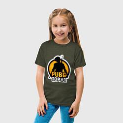 Детская хлопковая футболка с принтом PUBG Top 1, цвет: меланж-хаки, артикул: 10140928300014 — фото 2