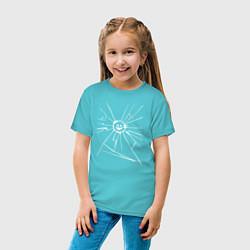 Футболка хлопковая детская Mirror Smile цвета бирюзовый — фото 2