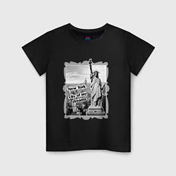 Футболка хлопковая детская New York city of my dreams цвета черный — фото 1