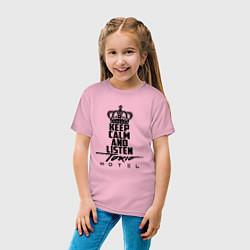 Футболка хлопковая детская Keep Calm & Listen Tokio Hotel цвета светло-розовый — фото 2