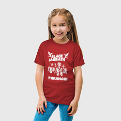 Футболка хлопковая детская Black Sabbath: Paranoid цвета красный — фото 2