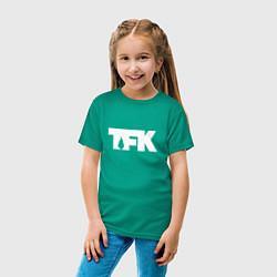 Футболка хлопковая детская TFK: White Logo цвета зеленый — фото 2