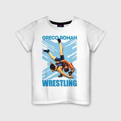 Футболка хлопковая детская Greco-roman wrestling цвета белый — фото 1