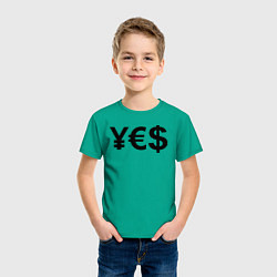 Футболка хлопковая детская YE$ цвета зеленый — фото 2