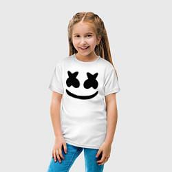 Футболка хлопковая детская Marshmello цвета белый — фото 2