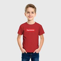 Футболка хлопковая детская Suprememe цвета красный — фото 2