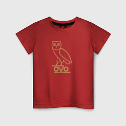 Футболка хлопковая детская OVO Owl цвета красный — фото 1