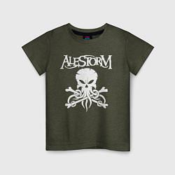Футболка хлопковая детская Alestorm: Octopus Skull цвета меланж-хаки — фото 1