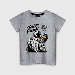 Футболка хлопковая детская Daft Punk: Our work is never over цвета меланж — фото 1