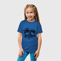 Футболка хлопковая детская Stussy x Bape цвета синий — фото 2